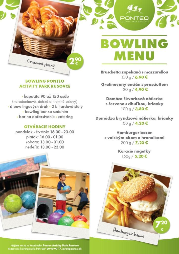 Ponteo bowling menu